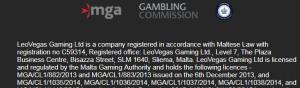 Lizenzinfo des Casinos Leo Vegas (MGA)