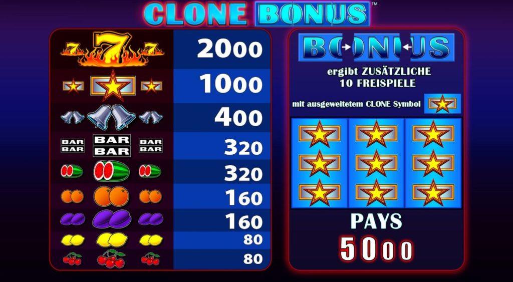Clone Bonus Spielplan